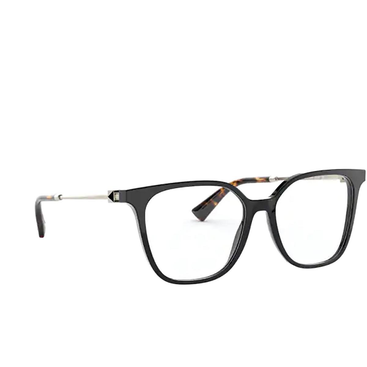 Valentino® Square Eyeglasses: VA3055 color Black 5001 - three-quarters view.