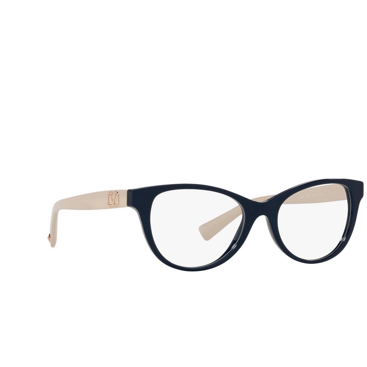 Valentino® Oval Eyeglasses: VA3057 color Blue 5034 - three-quarters view.
