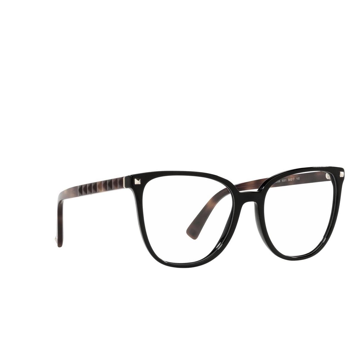 Valentino® Square Eyeglasses: VA3059 color Black 5001 - three-quarters view.