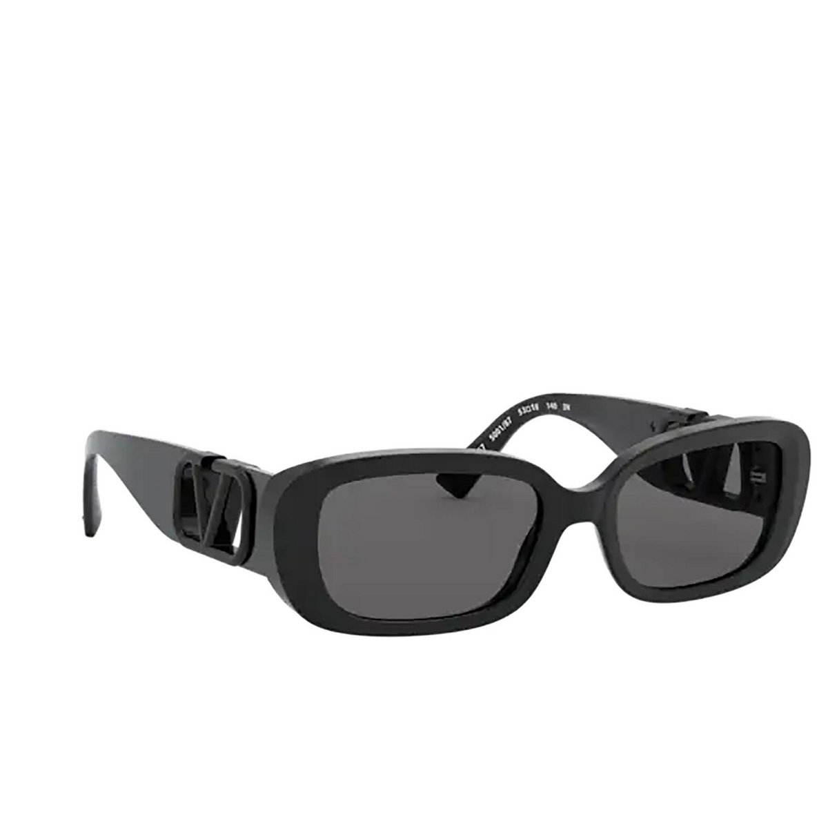 Valentino® Oval Sunglasses: VA4067 color Black 500187 - three-quarters view.