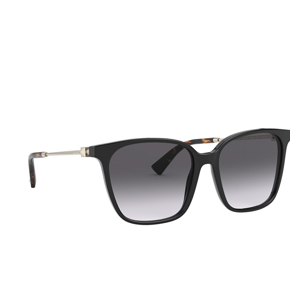Valentino® Square Sunglasses: VA4078 color Black 50018G - three-quarters view.