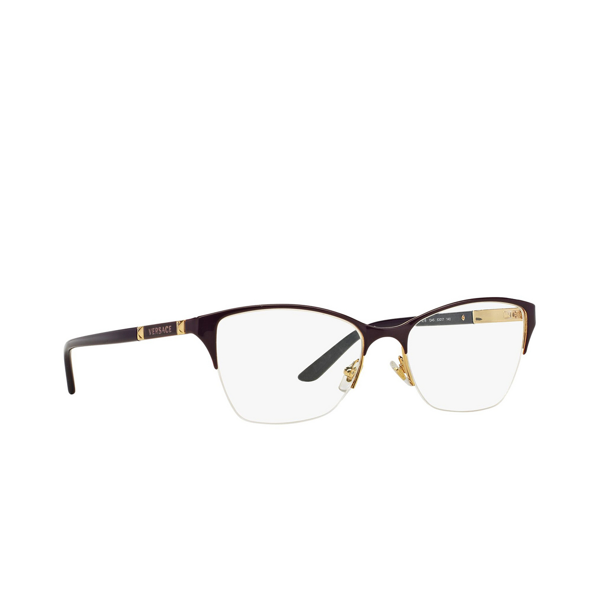 Versace® Cat-eye Eyeglasses: VE1218 color Violet / Gold 1345 - three-quarters view.