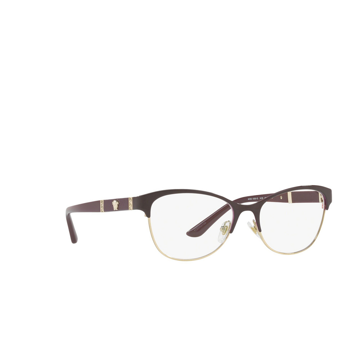 Versace® Cat-eye Eyeglasses: VE1233Q color Violet / Gold 1418 - three-quarters view.