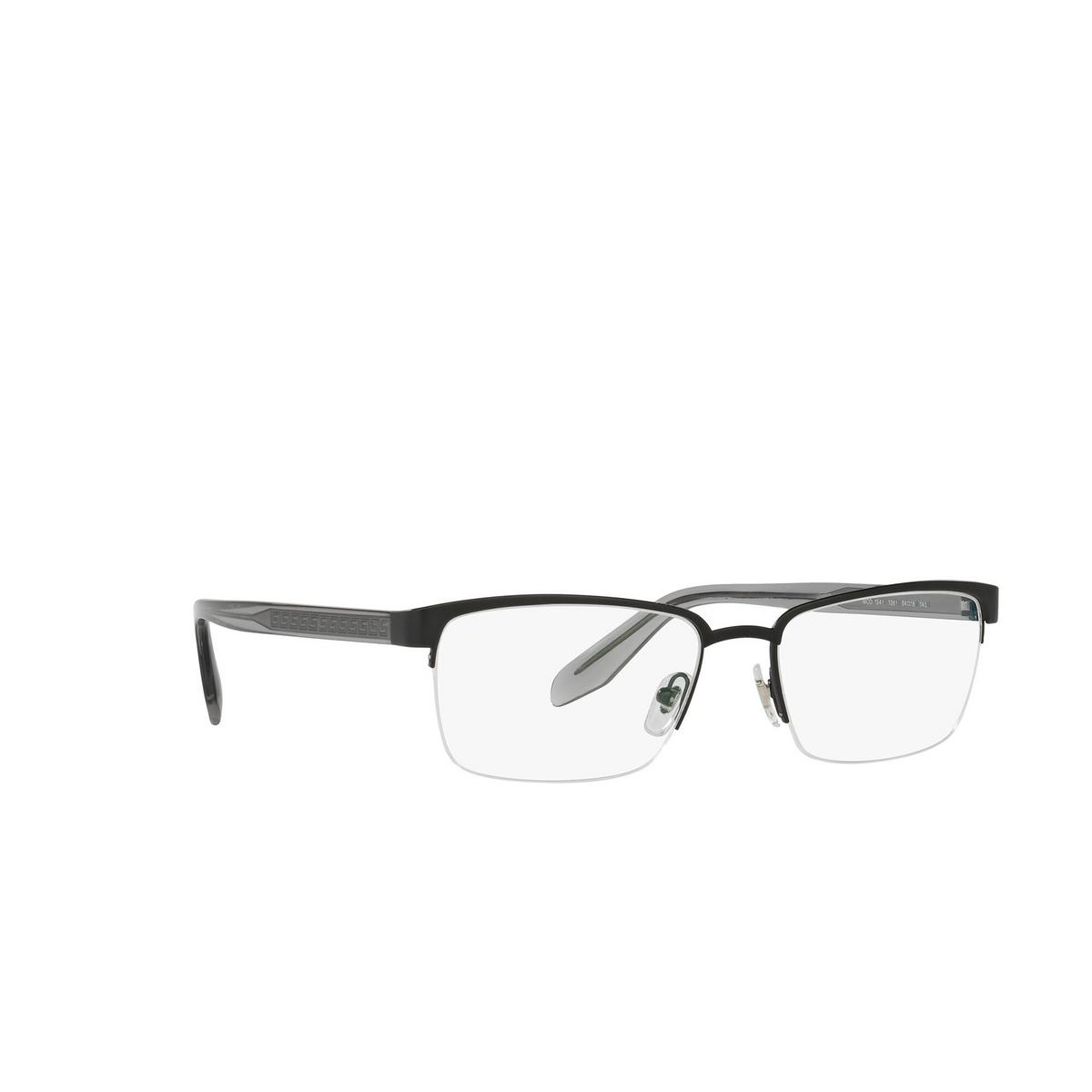Versace® Rectangle Eyeglasses: VE1241 color Matte Black 1261 - three-quarters view.
