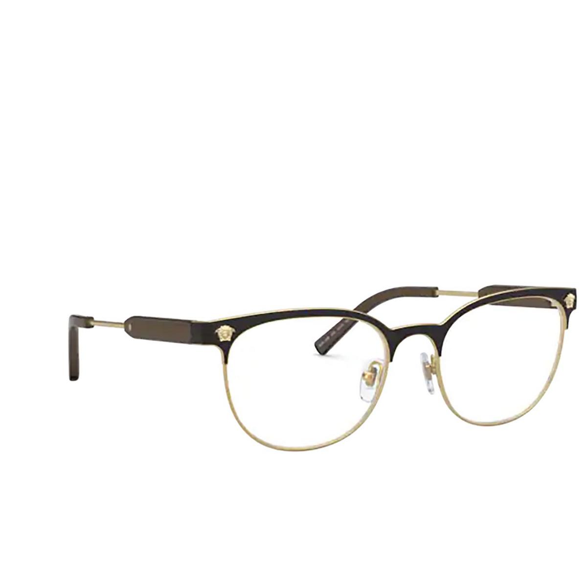 Versace® Oval Eyeglasses: VE1268 color Matte Black / Gold 1261 - three-quarters view.