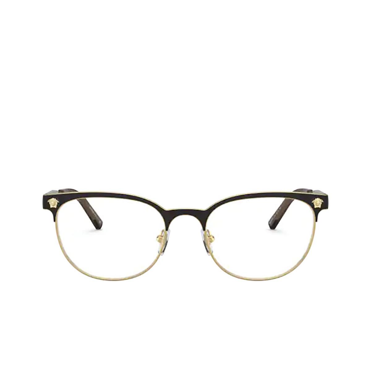 Versace® Oval Eyeglasses: VE1268 color Matte Black / Gold 1261 - front view.
