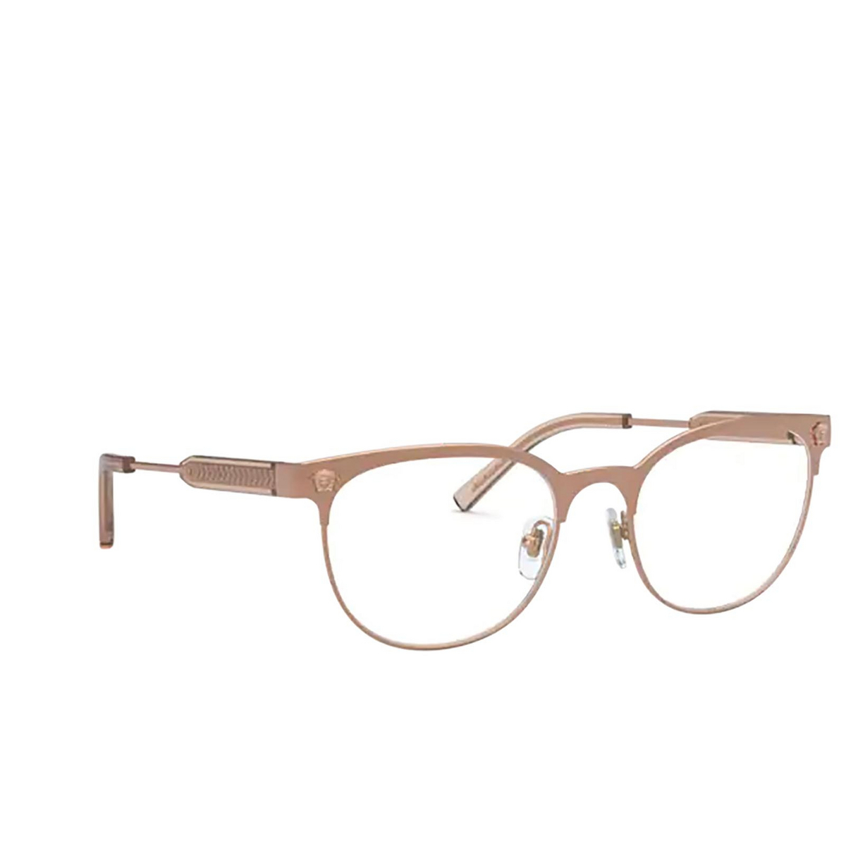 Versace® Oval Eyeglasses: VE1268 color Pink Gold 1412 - three-quarters view.