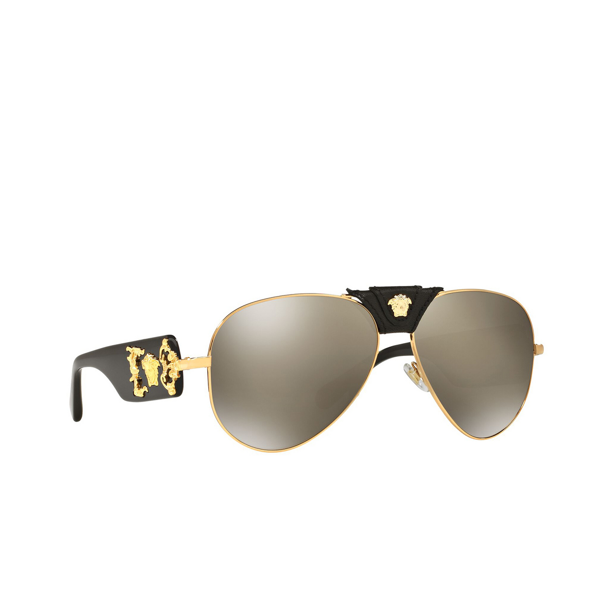 Versace® Aviator Sunglasses: VE2150Q color Gold 10025A - three-quarters view.