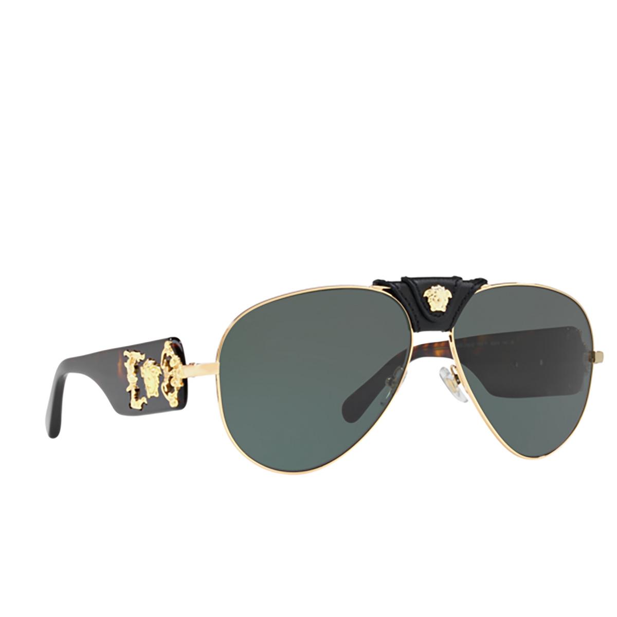 Versace® Aviator Sunglasses: VE2150Q color Gold 100271 - three-quarters view.