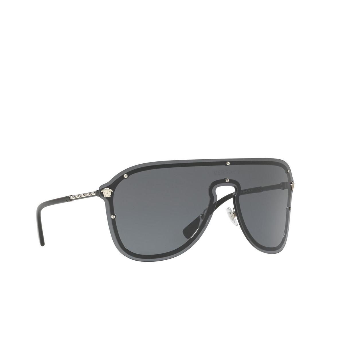 Versace® Aviator Sunglasses: VE2180 color Silver 100087 - three-quarters view.