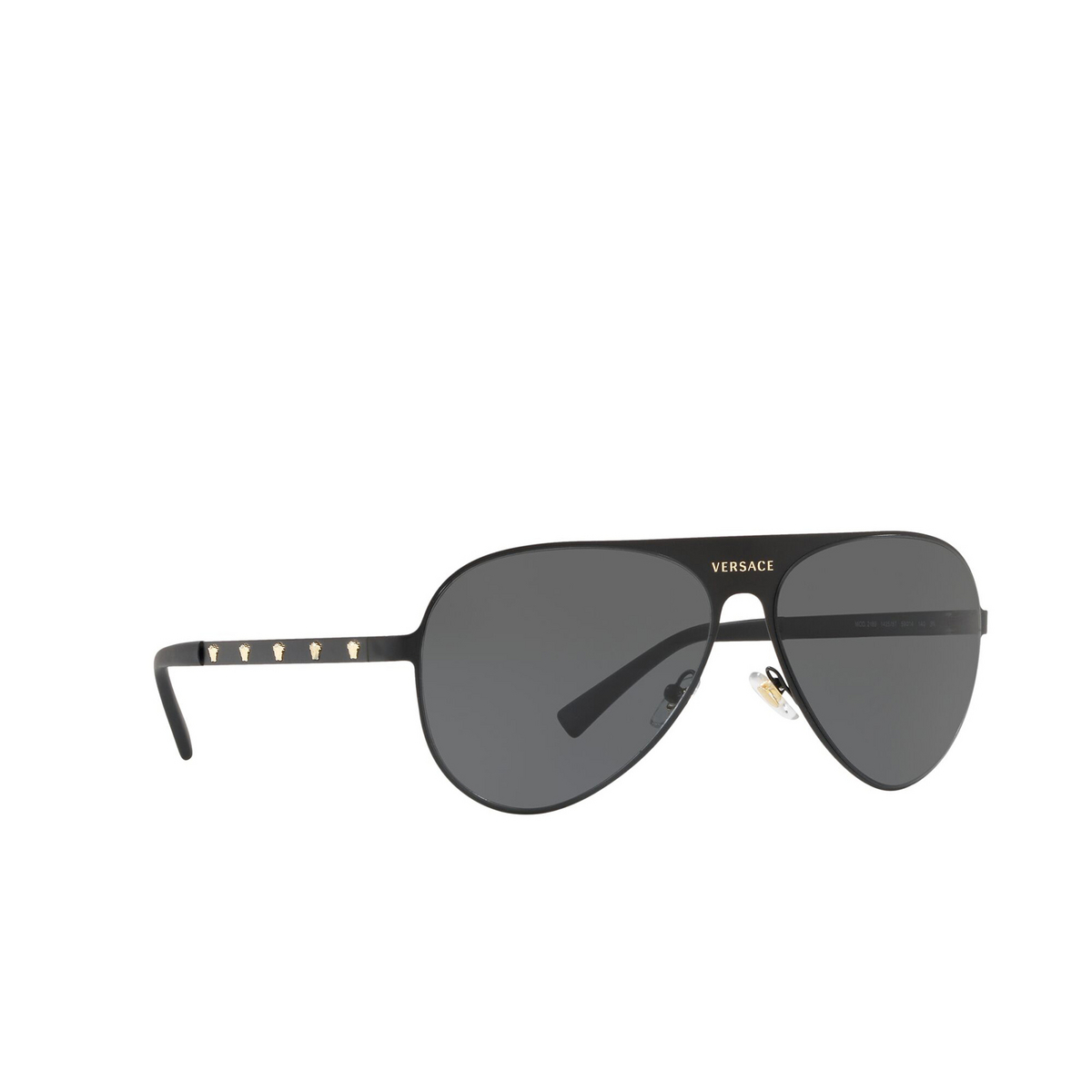 Versace® Aviator Sunglasses: VE2189 color Matte Black 142587 - three-quarters view.