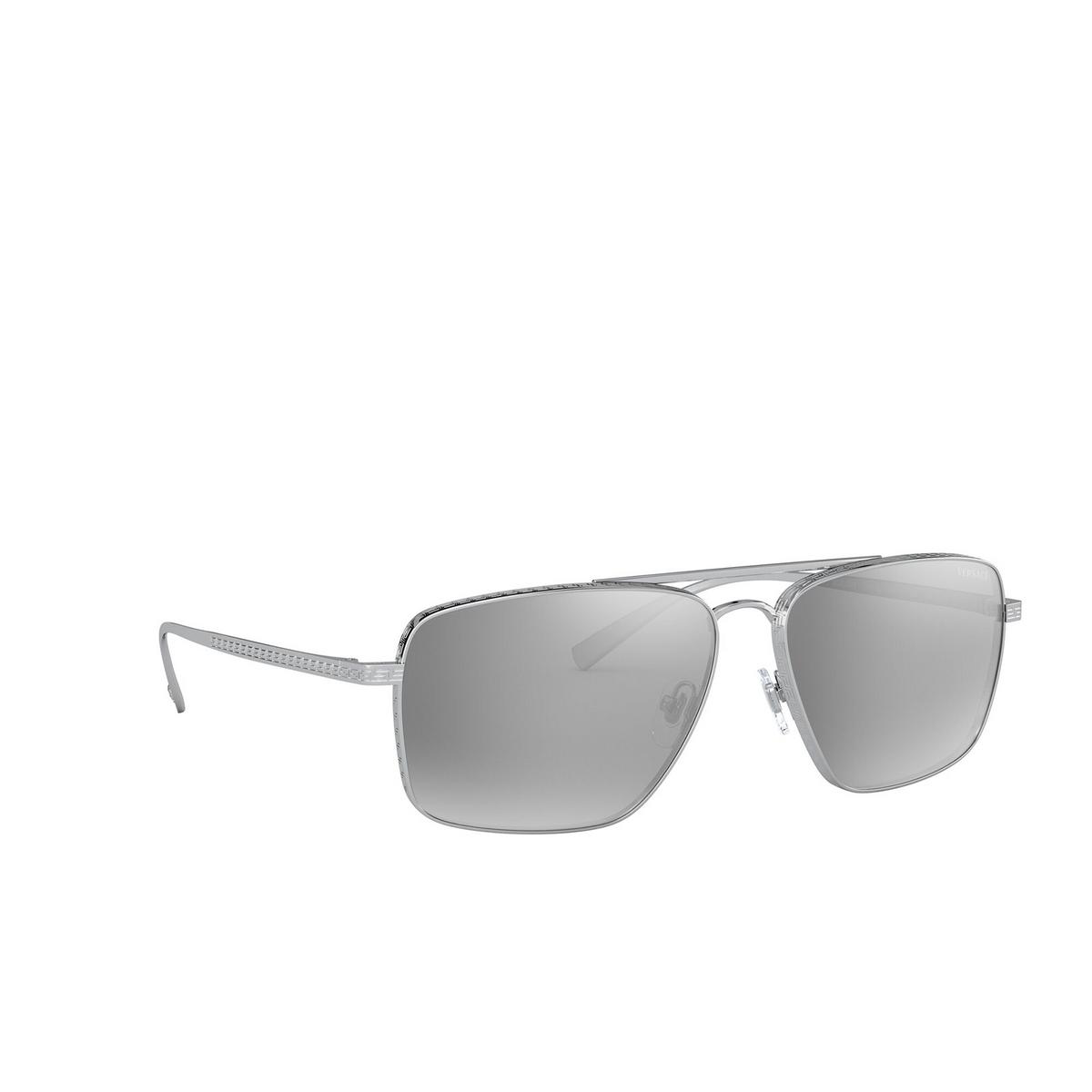 Versace® Square Sunglasses: VE2216 color Silver 10006G - three-quarters view.