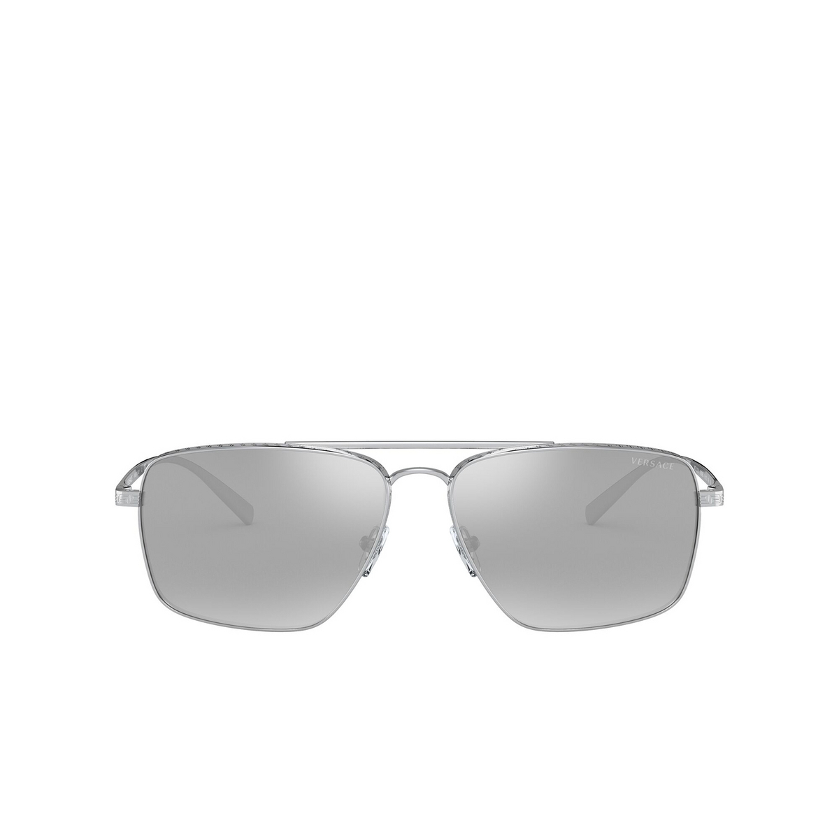 Versace® Square Sunglasses: VE2216 color Silver 10006G - front view.