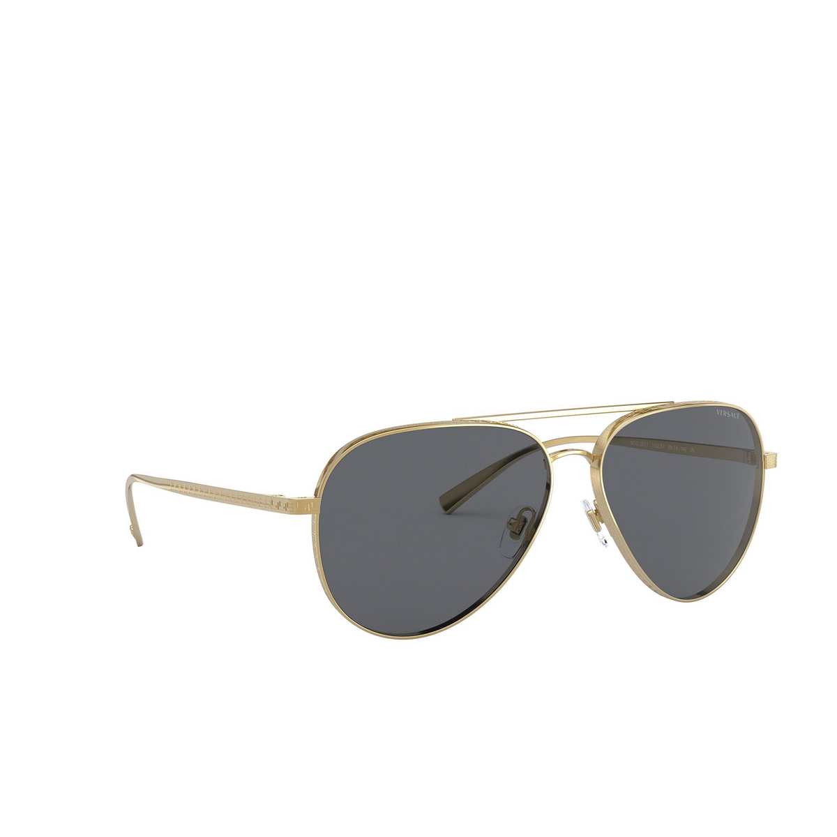 Versace® Aviator Sunglasses: VE2217 color Gold 100287 - three-quarters view.