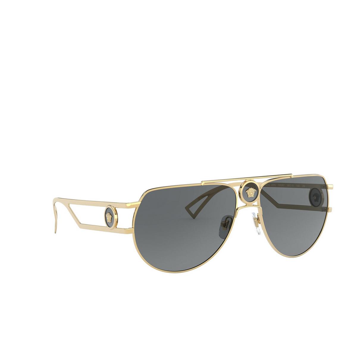 Versace® Aviator Sunglasses: VE2225 color Gold 100287 - three-quarters view.