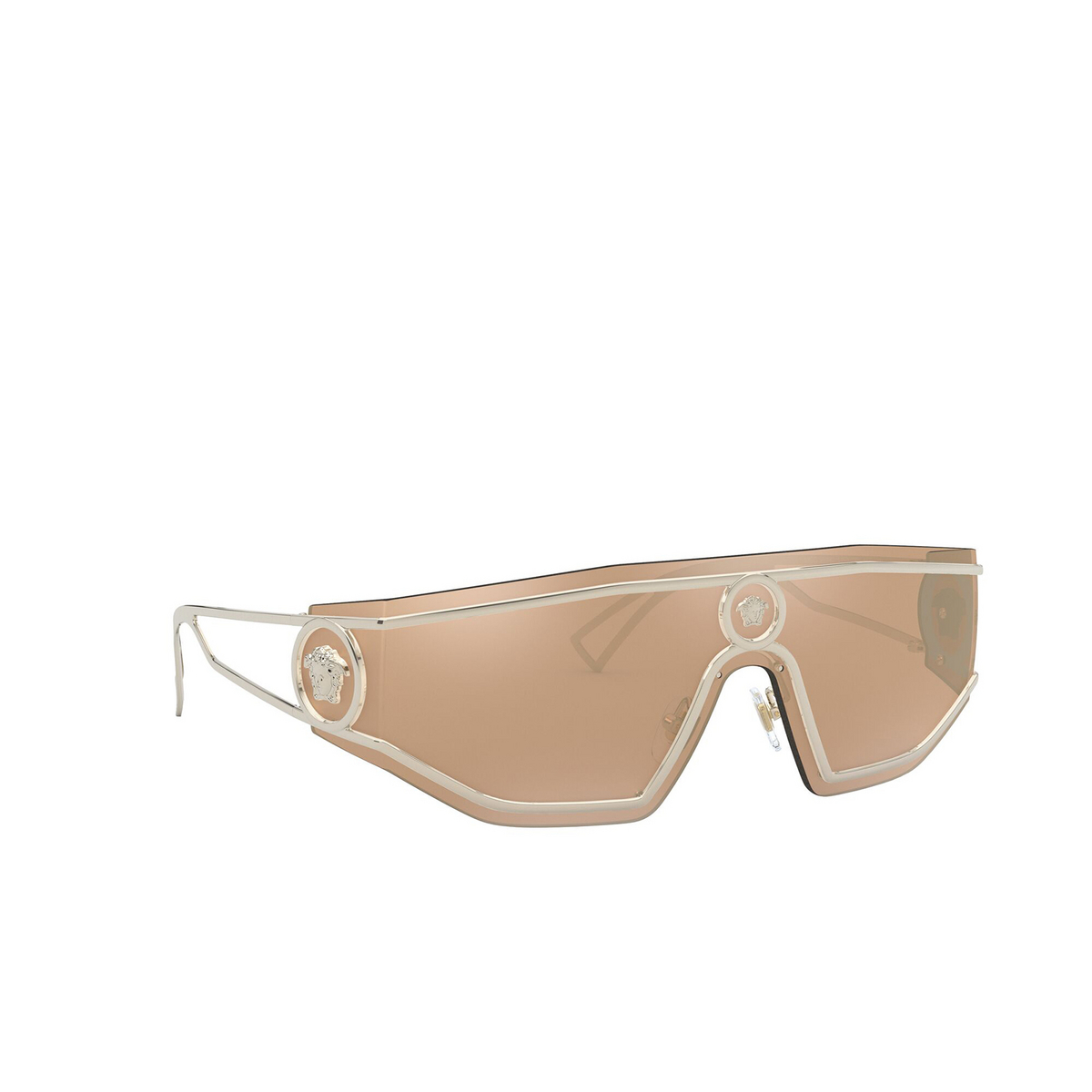 Versace® Mask Sunglasses: VE2226 color Pale Gold 12527P - three-quarters view.