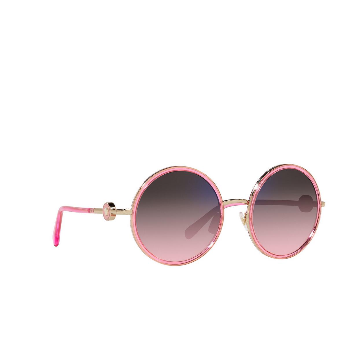 Versace® Round Sunglasses: VE2229 color Transparent Pink 1252H9 - three-quarters view.