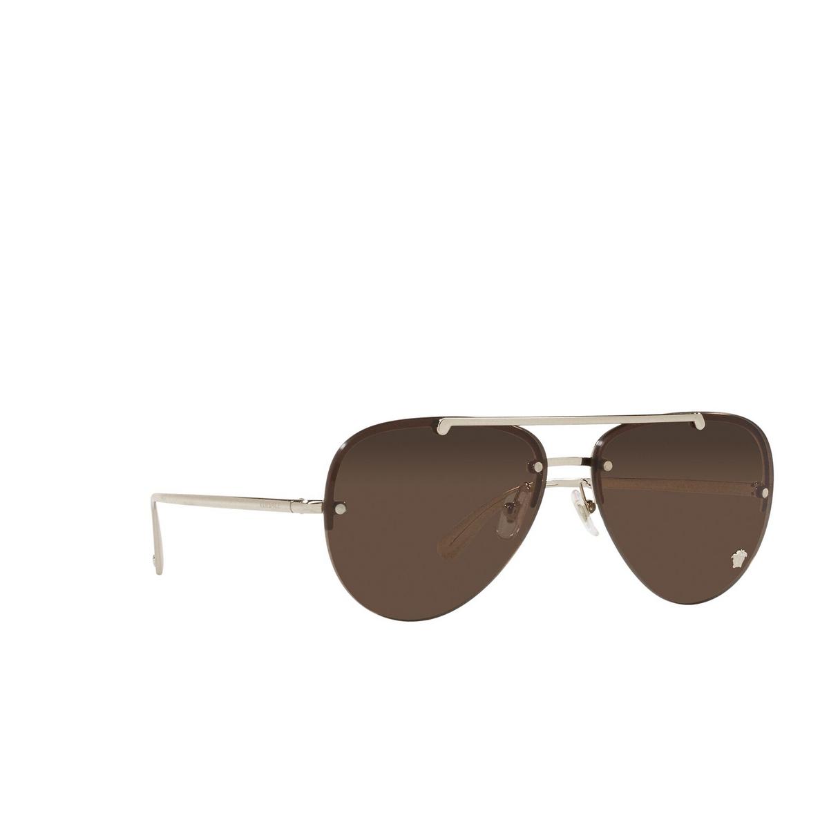 Versace® Aviator Sunglasses: VE2231 color Pale Gold 125273 - three-quarters view.