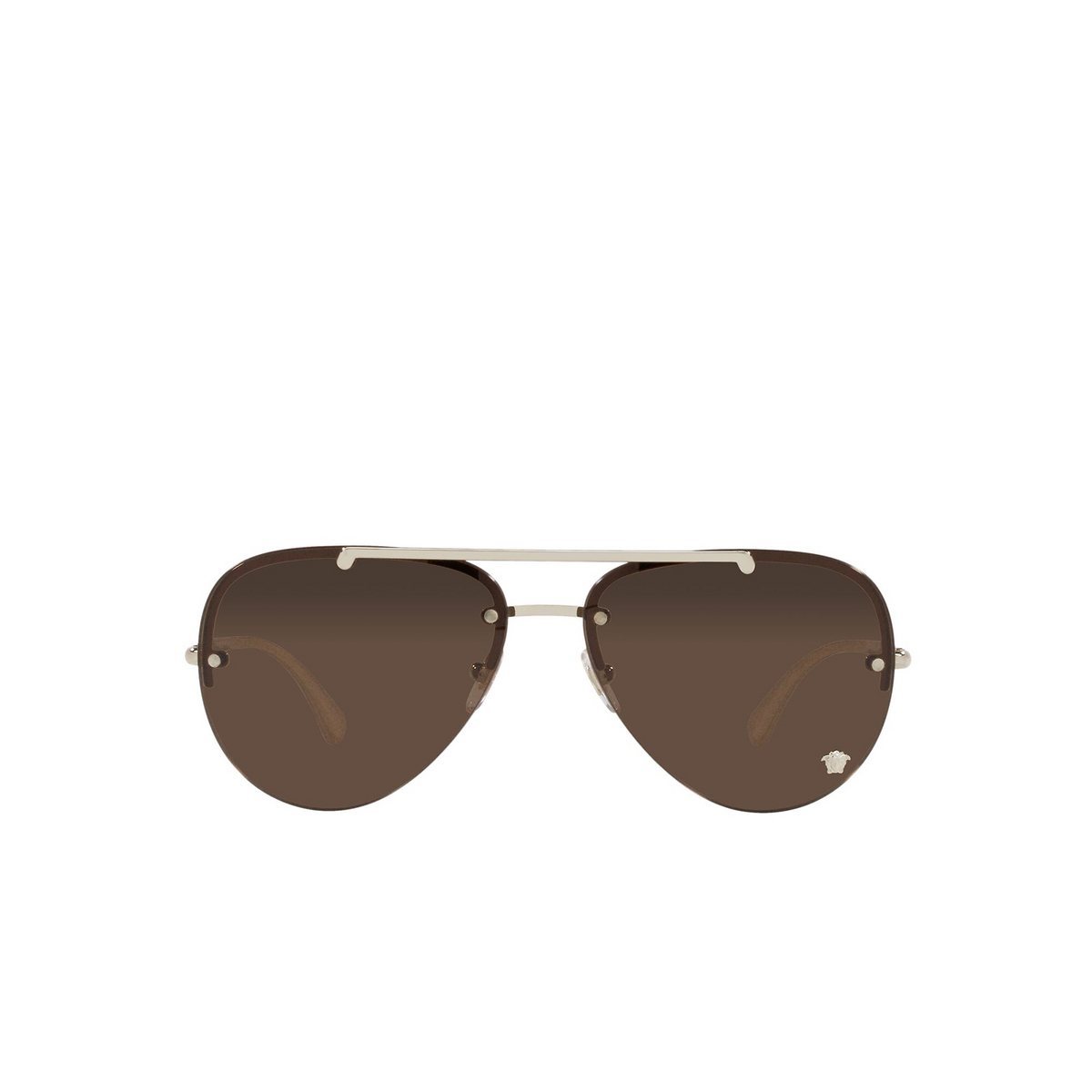 Versace® Aviator Sunglasses: VE2231 color Pale Gold 125273 - front view.