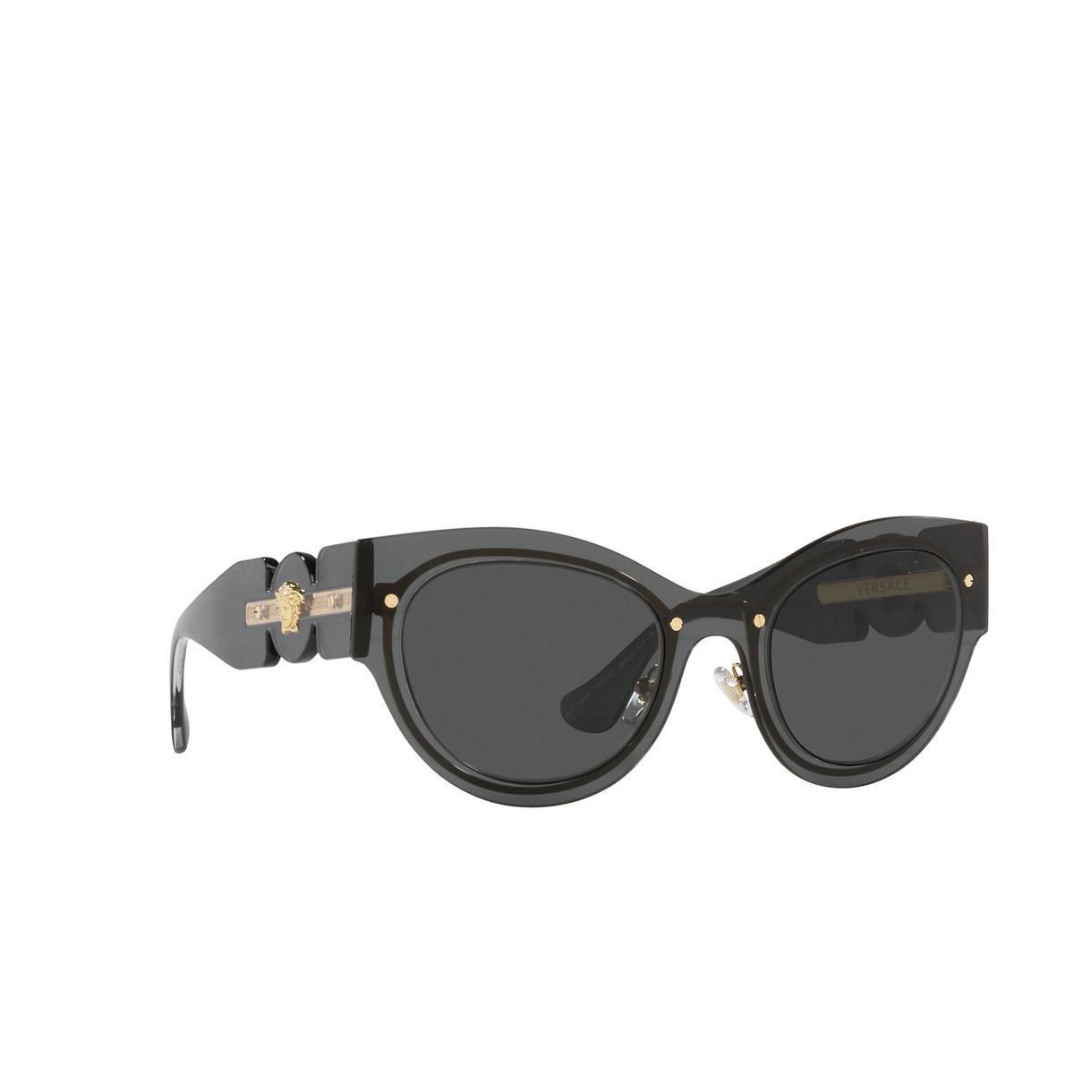 Versace® Cat-eye Sunglasses: VE2234 color Transparent Dark Grey 100287 - three-quarters view.