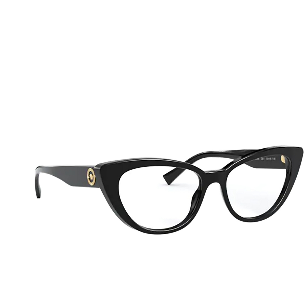 Versace® Cat-eye Eyeglasses: VE3286 color Black GB1 - three-quarters view.