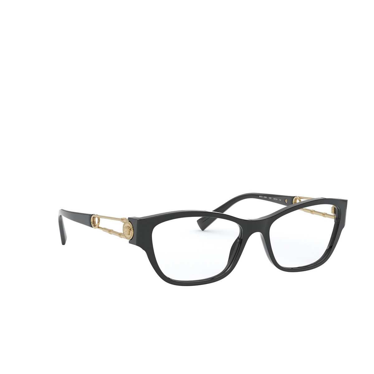Versace® Cat-eye Eyeglasses: VE3288 color Black GB1 - three-quarters view.