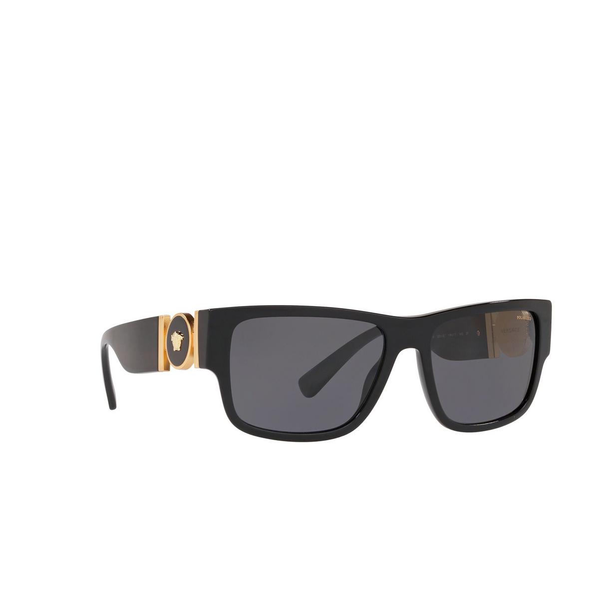 Versace® Square Sunglasses: VE4369 color Black GB1/81 - three-quarters view.