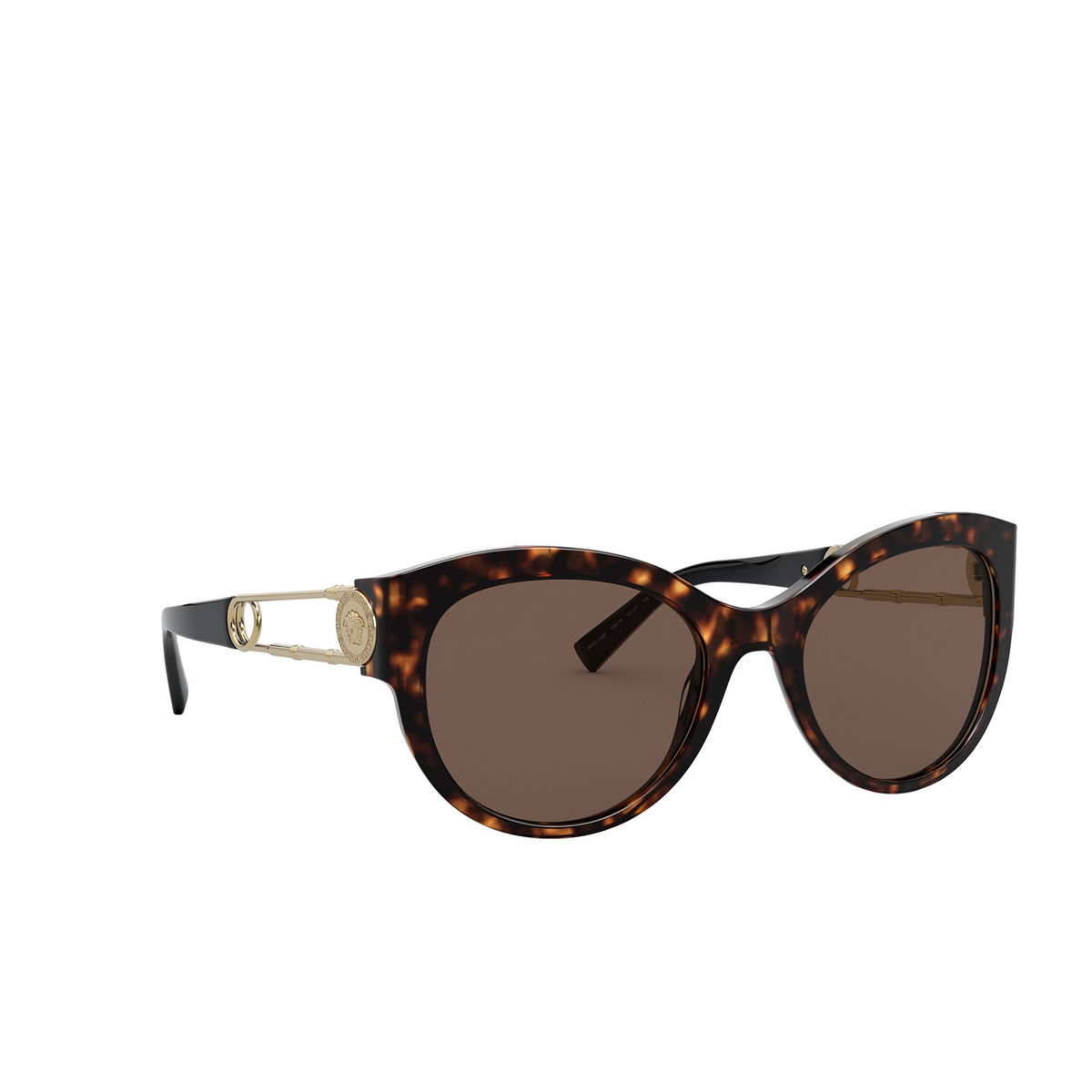 Versace® Cat-eye Sunglasses: VE4389 color Havana 108/73 - three-quarters view.