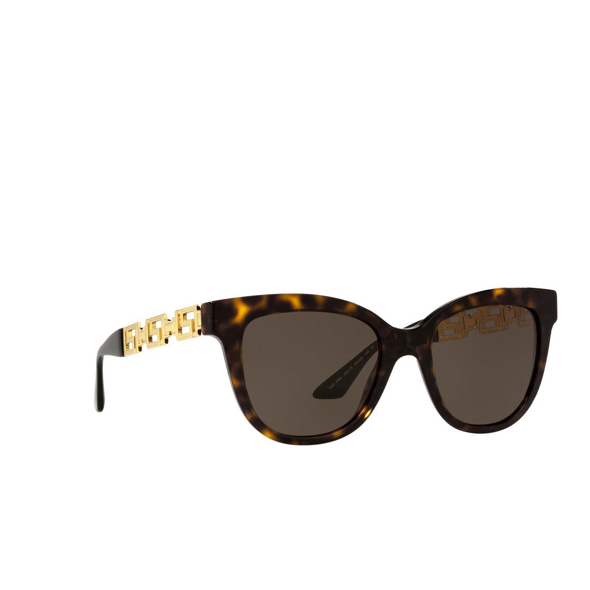 Versace® Cat-eye Sunglasses: VE4394 color Havana 108/73 - three-quarters view.