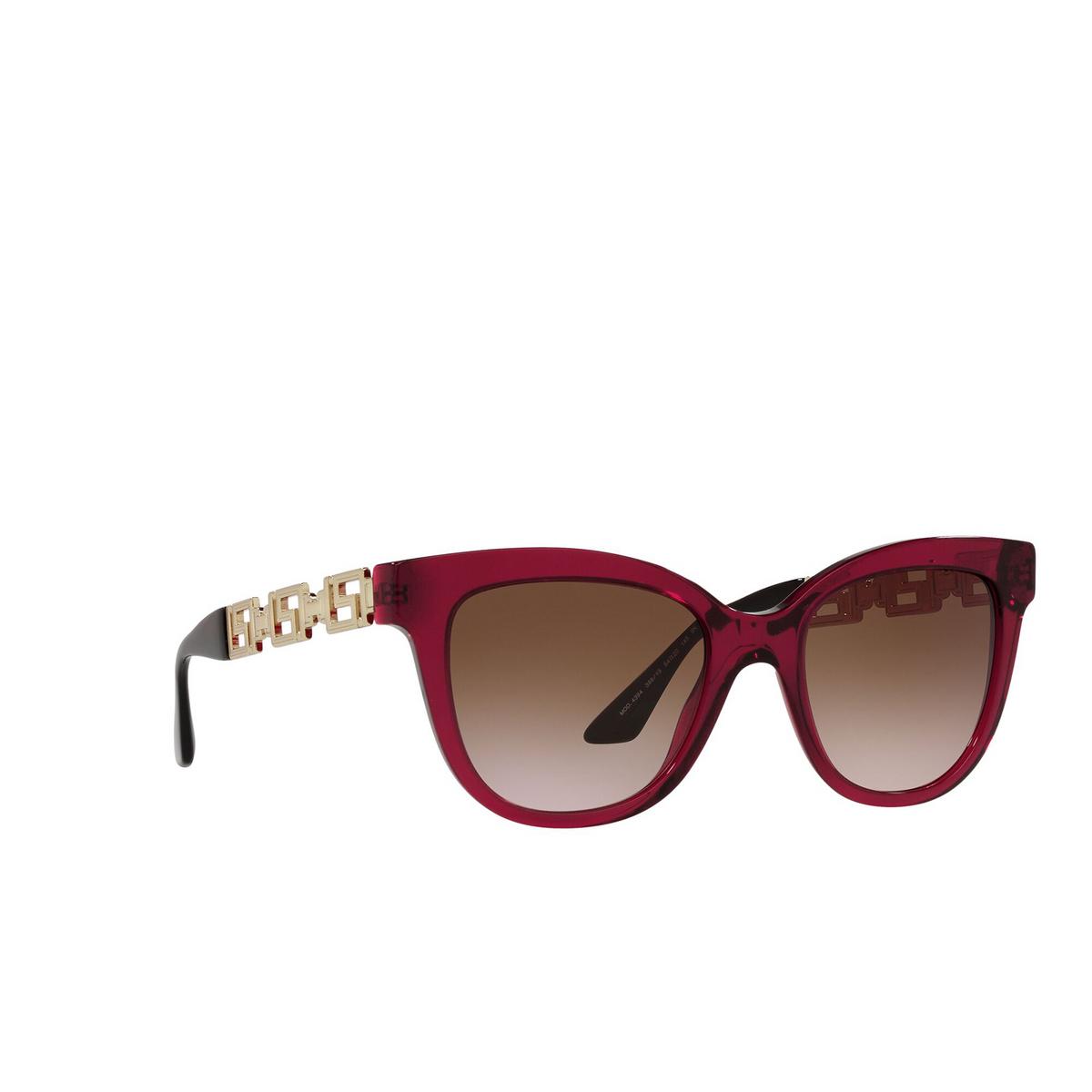Versace® Cat-eye Sunglasses: VE4394 color Bordeaux Transparent 388/13 - three-quarters view.