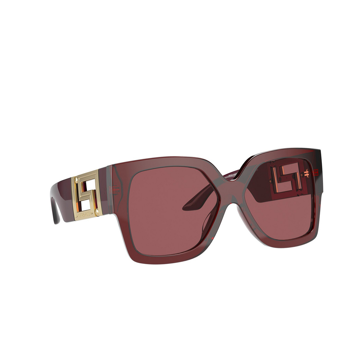 Versace® Square Sunglasses: VE4402 color Transparent Red 388/69 - three-quarters view.