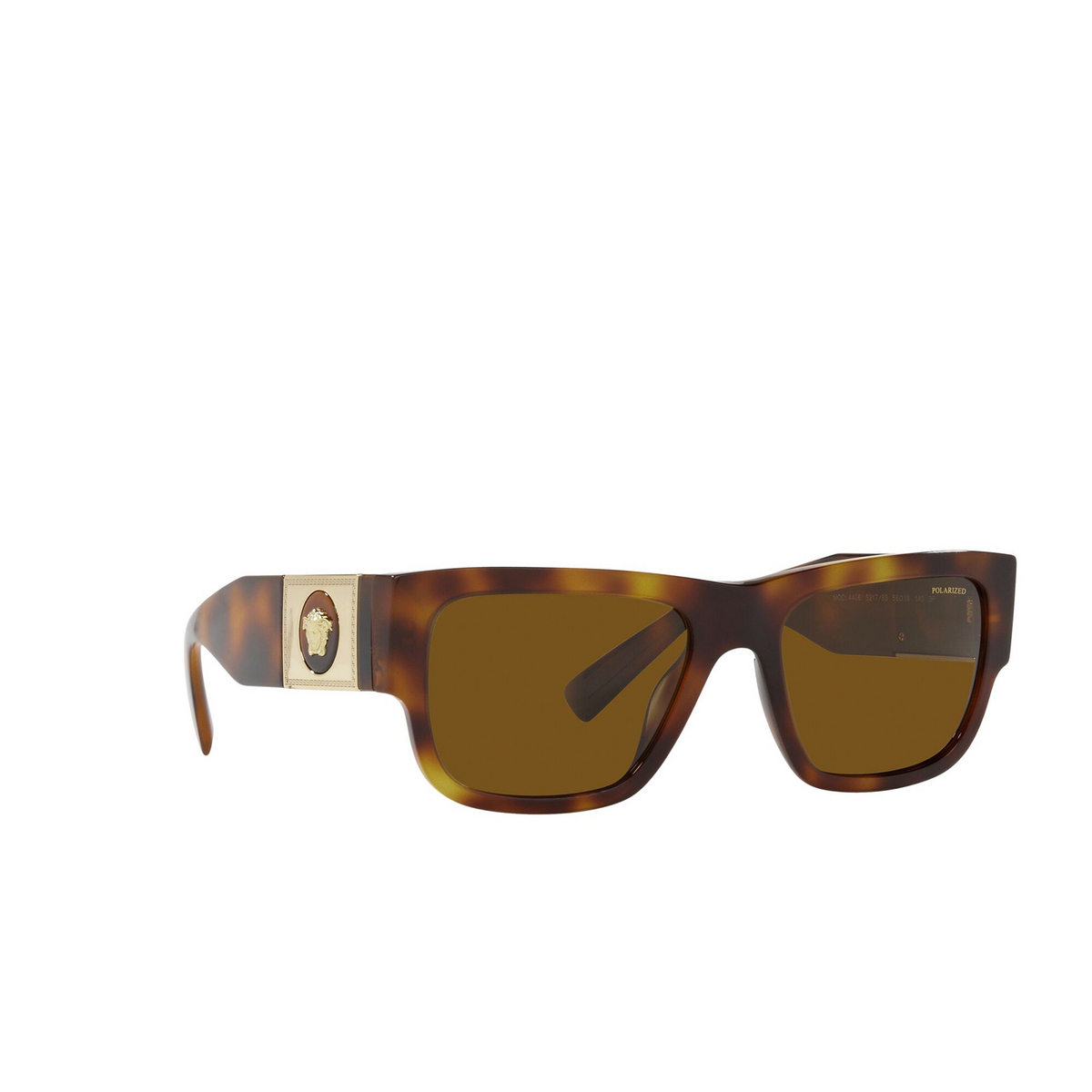 Versace® Rectangle Sunglasses: VE4406 color Havana 521783 - three-quarters view.