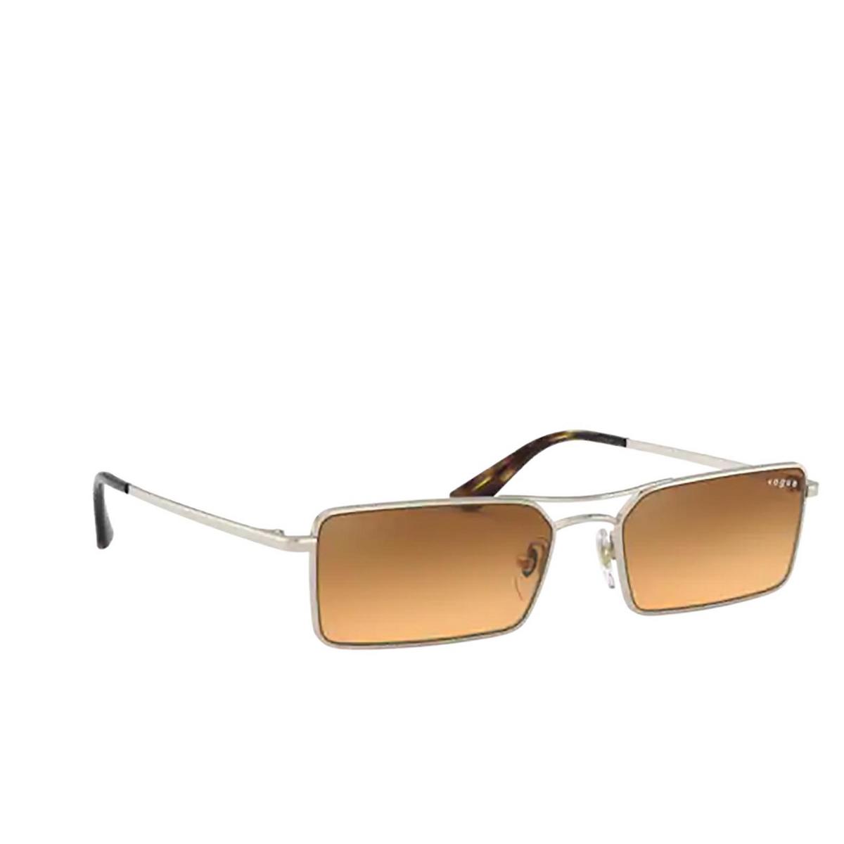 Vogue® Rectangle Sunglasses: VO4106SM color Pale Gold 848/7H - three-quarters view.