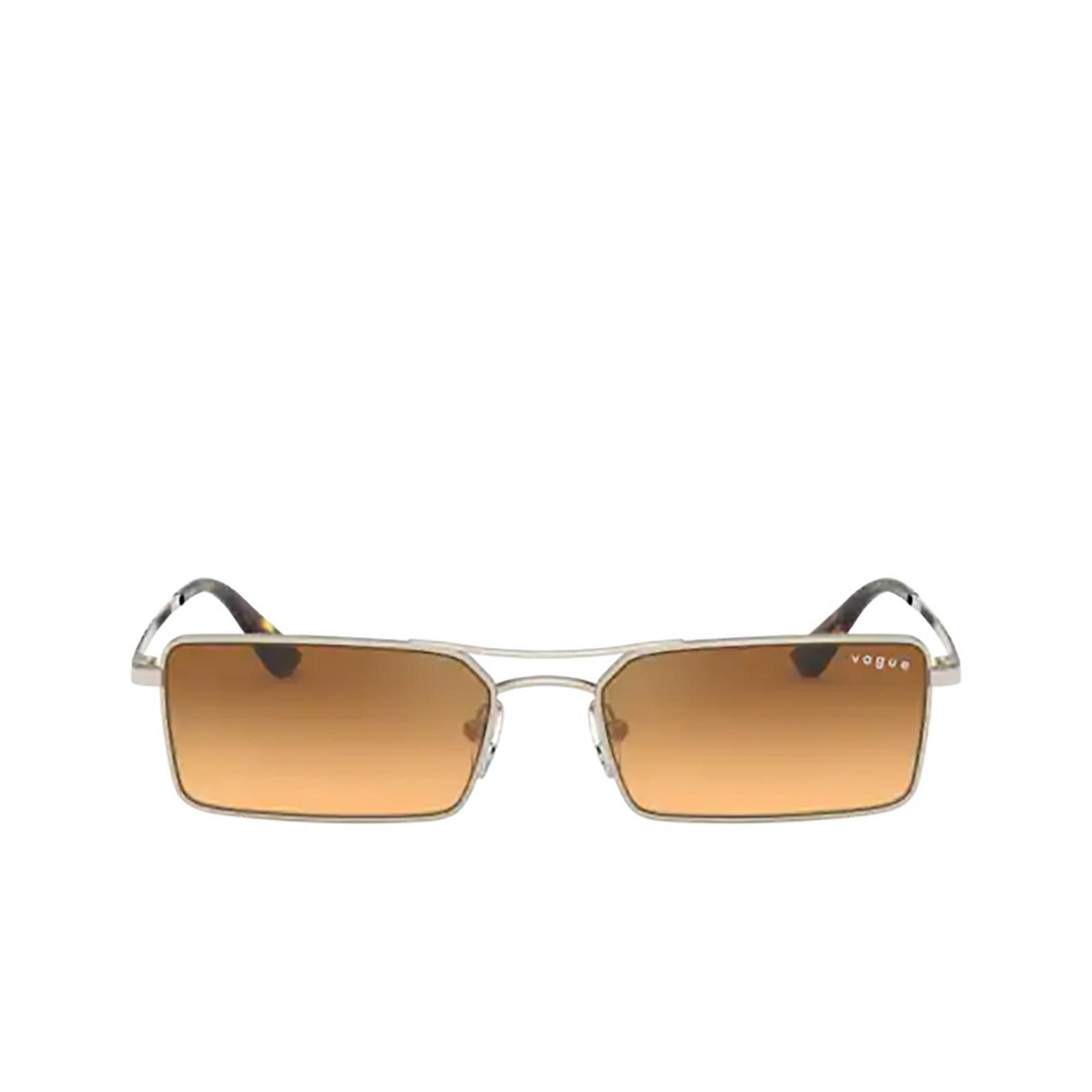 Vogue® Rectangle Sunglasses: VO4106SM color Pale Gold 848/7H - front view.