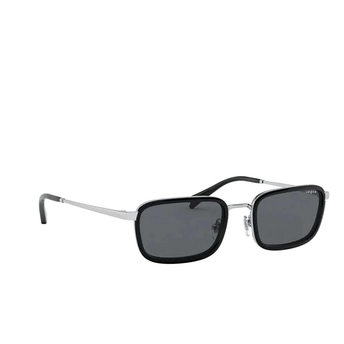 Vogue® Rectangle Sunglasses: VO4166S color Silver 323/87 - three-quarters view.