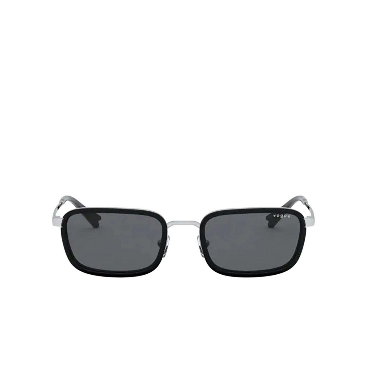 Vogue® Rectangle Sunglasses: VO4166S color Silver 323/87 - front view.
