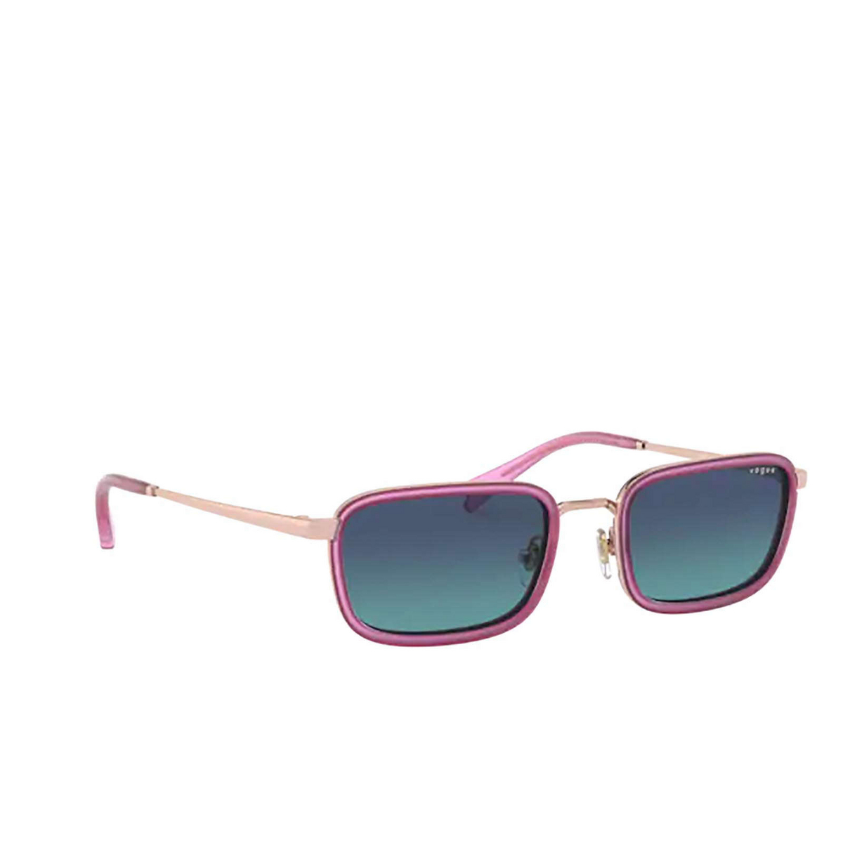 Vogue® Rectangle Sunglasses: VO4166S color Rose Gold 50754S - three-quarters view.