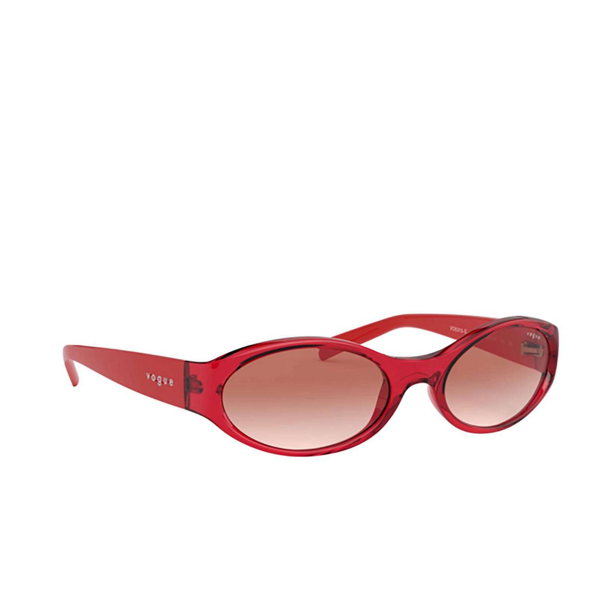 Vogue® Oval Sunglasses: VO5315S color Transparent Red 280313 - three-quarters view.
