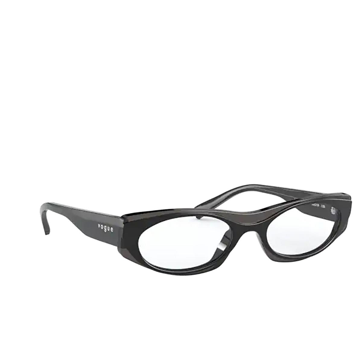 Vogue® Oval Eyeglasses: VO5316 color Top Black / Opal Black 2813 - three-quarters view.