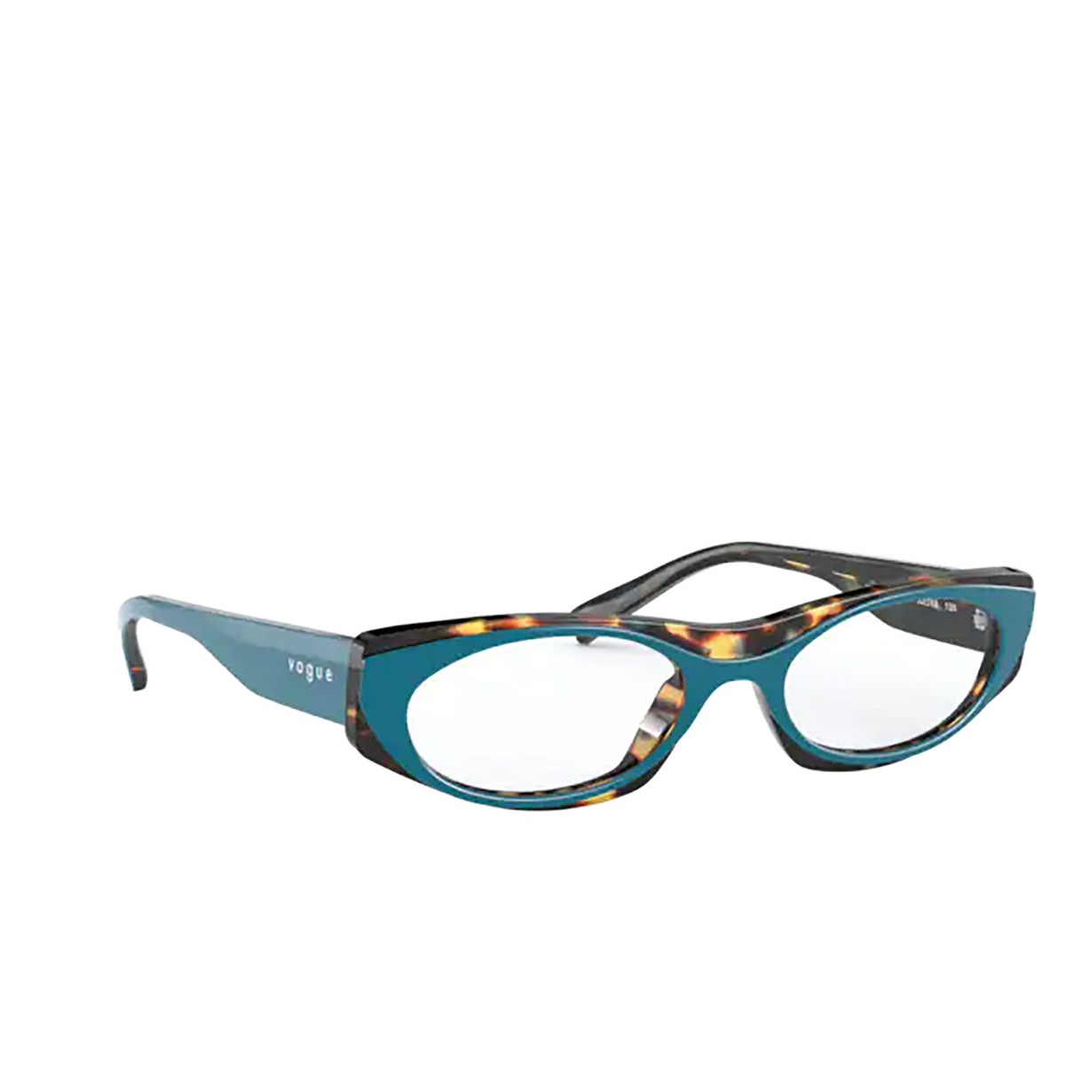 Vogue® Oval Eyeglasses: VO5316 color Top Green / Multi Blue Havana 2816 - three-quarters view.