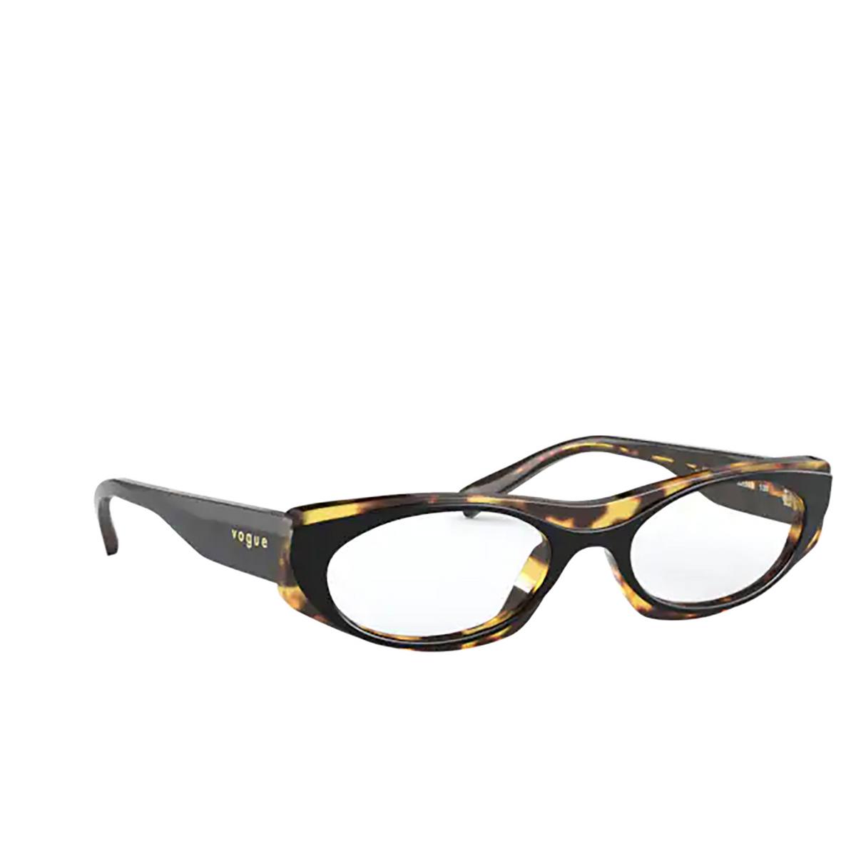 Vogue® Oval Eyeglasses: VO5316 color Top Black / Havana 2818 - three-quarters view.