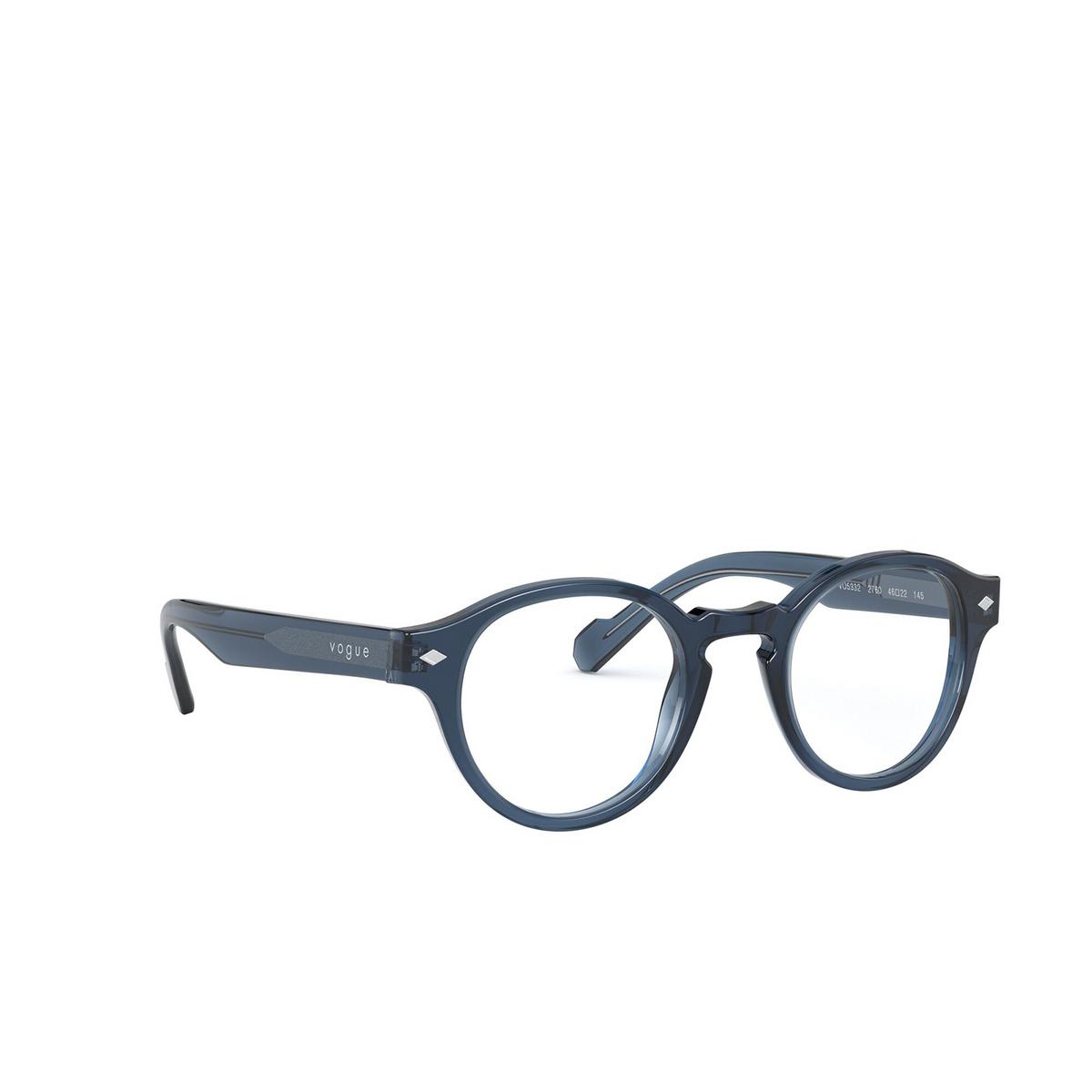 Vogue® Round Eyeglasses: VO5332 color Transparent Blue 2760 - three-quarters view.