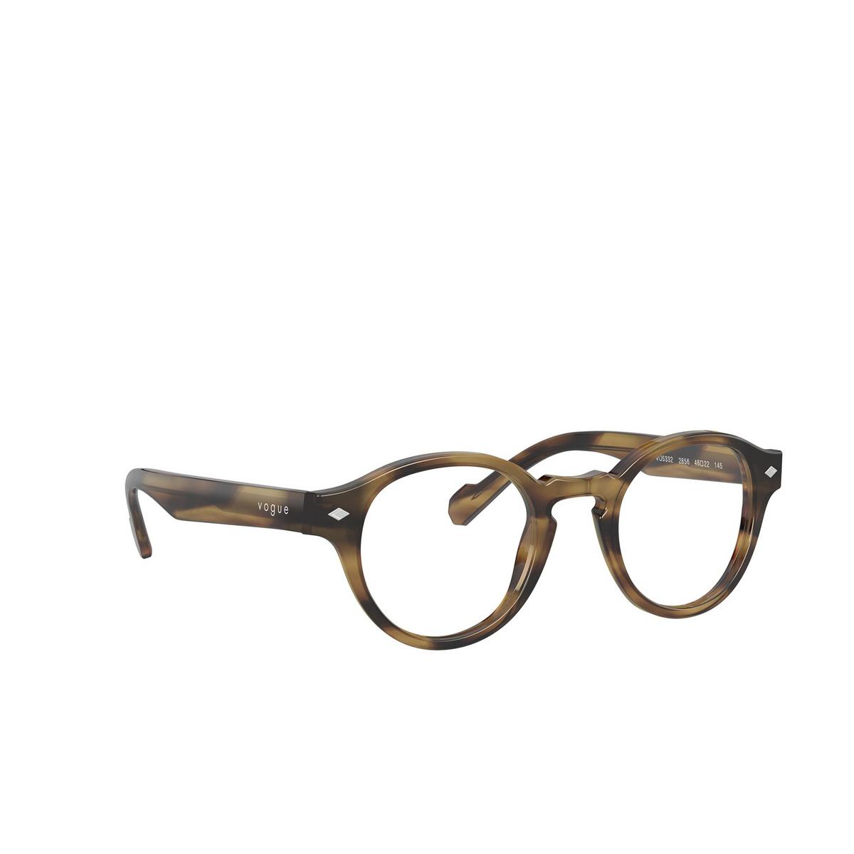Vogue® Round Eyeglasses: VO5332 color Striped Havana 2856 - three-quarters view.