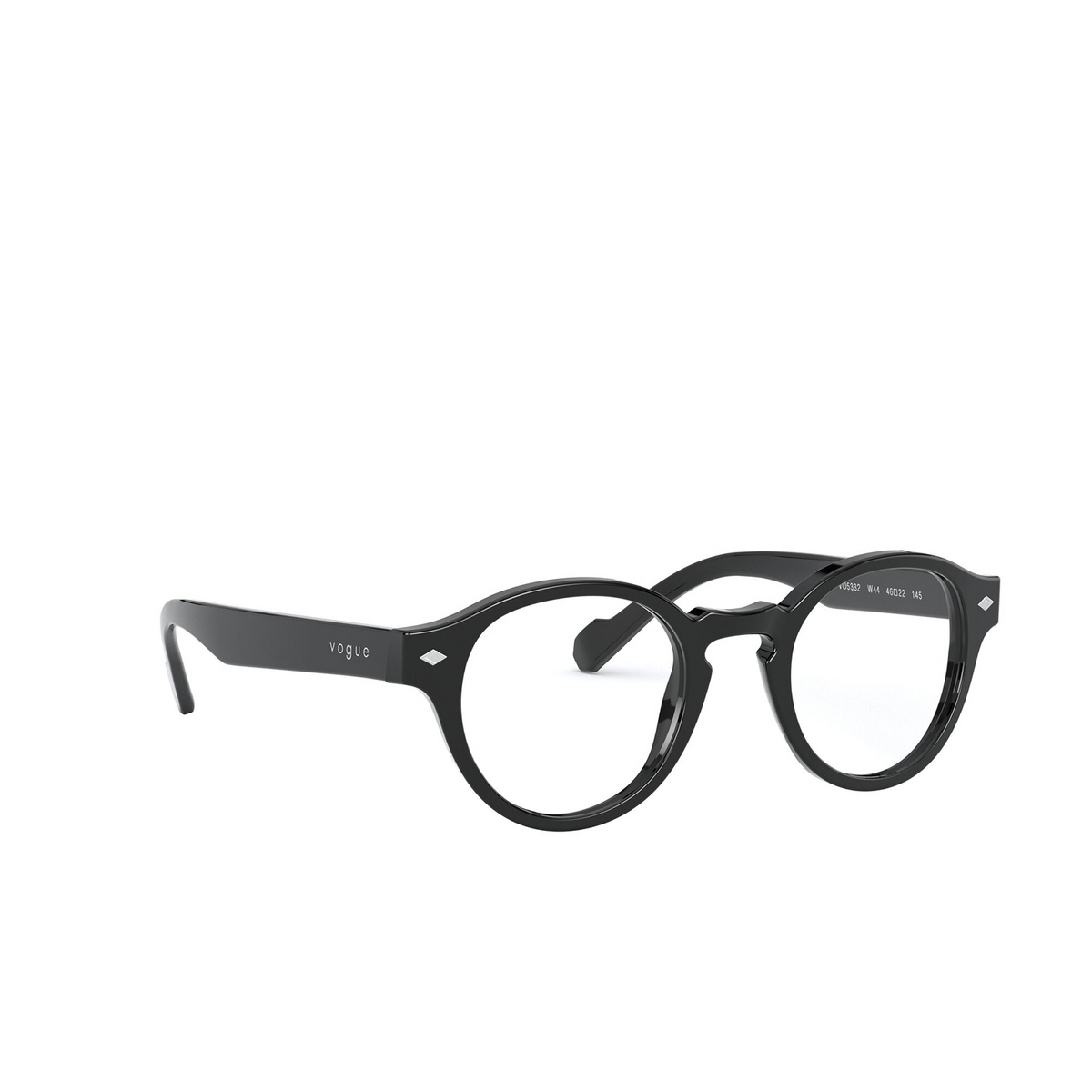 Vogue® Round Eyeglasses: VO5332 color Black W44 - three-quarters view.