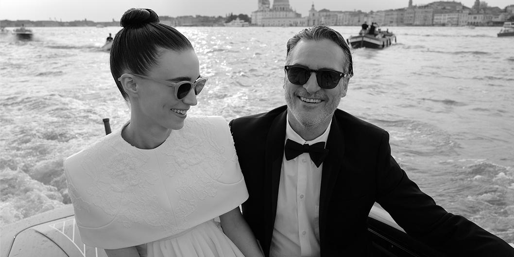 Joaquin Phoenix and Rooney Mara wearing GLCO Clare V. and Garrett Leight Ace Sun